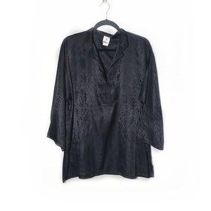 Natori Black Kimono Like Style Blouse